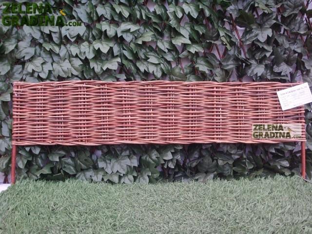 JLY-11A042 - Плетена декоративна ограда, Материал: Върба, цвят: натурал, Височина: 35 cm, Дължина: 100 cm