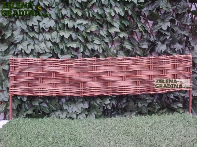 JLY-12A001 - Плетена декоративна ограда, Материал: Върба, цвят: натурал, Височина: 35 cm, Дължина: 100 cm