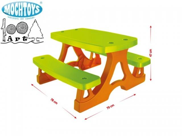 MOCHTOYS 10722 - Детска пластмасова пикник маса, Размери: 79x78x47 cm, Тегло: 4.70 кг