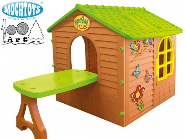 MOCHTOYS 11045 - Пластмасова детска къща с маса за двора, Размери: 122x180x120.5 cm, Тегло: 18.55 кг