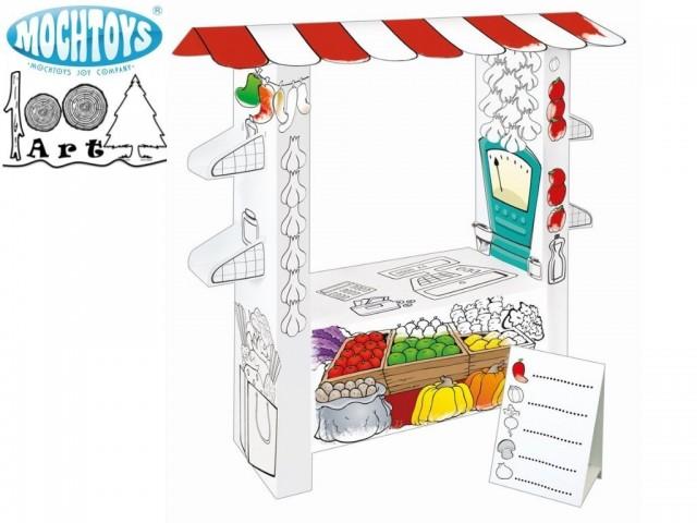 """MOCHTOYS 11219 - Картонена къща за оцветяване """"ПАВИЛИОН ЗА ЗЕЛЕНЧУЦИ"""""""