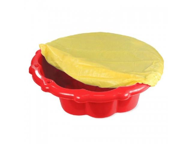 MOCHTOYS 11575 - Детски пластмасов пясъчник с покривало, Цвят: Червен, Размери: 22x80x87 см