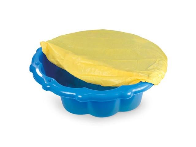 MOCHTOYS 11575 - Детски пластмасов пясъчник с покривало, Цвят: Син, Размери: 22x80x87 см