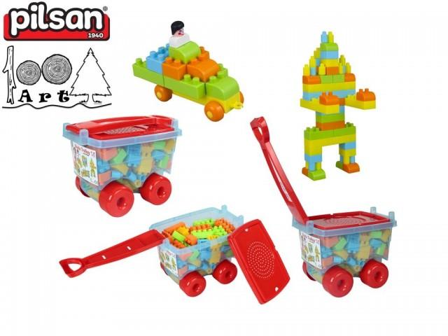 PILSAN 03256 - Детски конструктор в количка, Размери: 21.5x31x24 см, Тегло: 1,20 кг