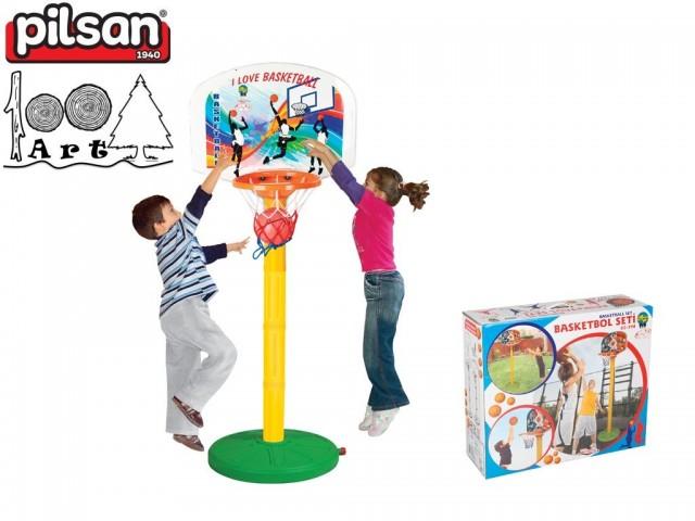 PILSAN 03398 - Детски баскетболен комплект, Регулираща се височинa на коша: от 93 см до 213 см