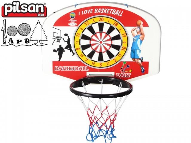PILSAN 03400 - Баскетболно табло + дартс + топка + стрелички, Размери: 44x59x34 см