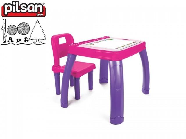 PILSAN 03402 - Маса със стол, Цвят: Розова, Размери: 21x60x45.5 см, Тегло: 3.80 кг