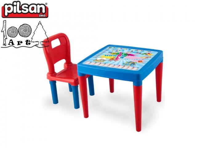 PILSAN 03419 - Маса със стол, Цвят: Син, Размери: Маса: 42x50,5x50,5 см; Стол: 52,5x32x30 см, Тегло: 2.25 кг