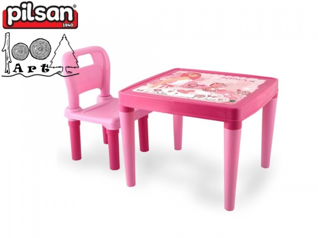 PILSAN 03419 - Маса със стол, Цвят: Розов, Размери: Маса: 42x50,5x50,5 см; Стол: 52,5x32x30 см, Тегло: 2.25 кг