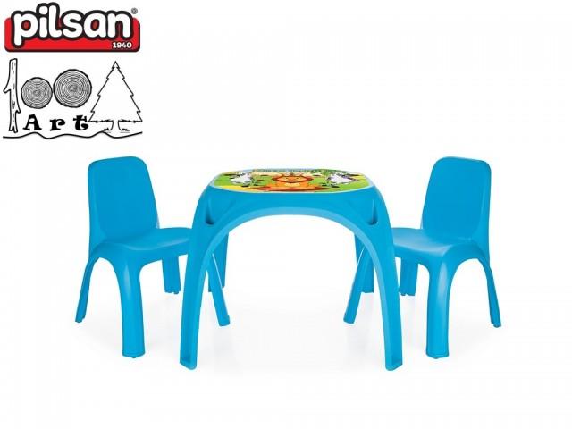 "PILSAN 03422 - Детска пластмасова маса + 2 стола ""KING"", Цвят: Син, Размери: маса 50.5x64.5x64.5 см, стол: 56x43x43 см"