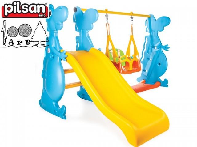 "PILSAN 06099 - Пързалка с люлка ""DINO"", Размери: 121x182x140 cm"