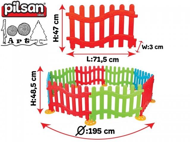 PILSAN 06192 - Пластмасова оградка от 8 елемента, Размери на 1 елемент: 47x71,5x3 cm