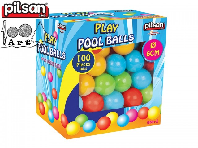 PILSAN 06400 - Пластмасови топки за игра, 100 бр. в кутия, Диаметър: 6 см