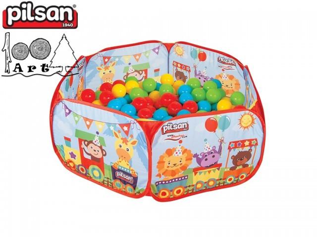 PILSAN 06413 - Сгъваем басейн с 200 бр. топки, Размер на топката: 6 cm, Размери в сгънато положение: 40,5x48 см