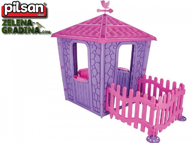 """PILSAN 06443 - Детска пластмасова къщичка """"Каменна къща с ограда"""", Размери: 179x114x151 cm, Цвят: Розова"""