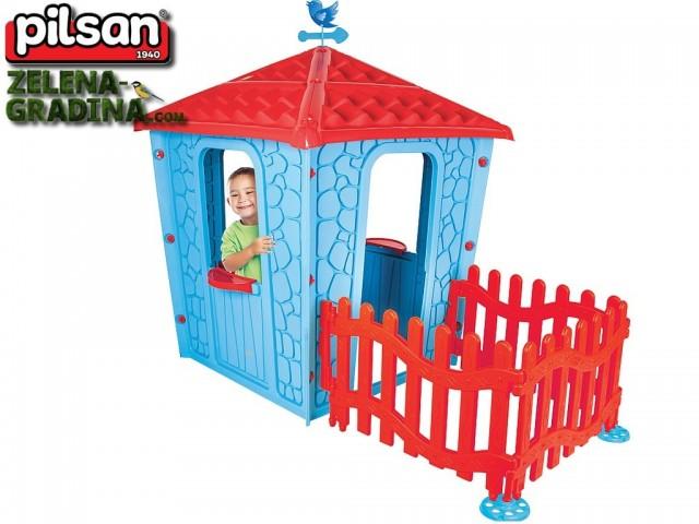 """PILSAN 06443 син - Детска пластмасова къщичка """"Каменна къща с ограда"""", Размери: 179x114x151 cm, Цвят: Синя"""