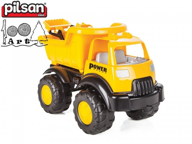 "PILSAN 06518 - Голям детски пластмасов камион ""POWER"" + булдозер, Размери: 26x49x31 см, Тегло: 1.86 кг"