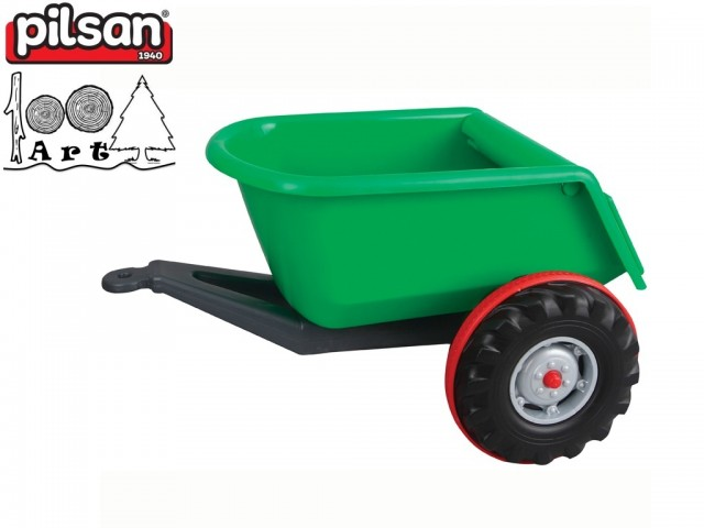 PILSAN 07295 - Детско пластмасово ремарке, Цвят: Зелен, Размери: 38x67.5x50.5 см, Тегло: 3 кг