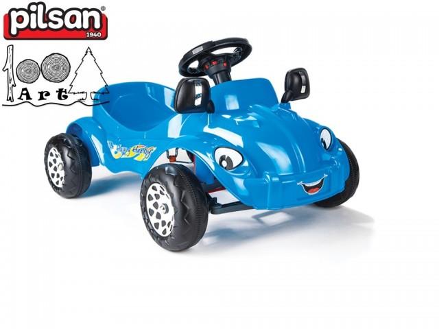 "PILSAN 07303 - Детска пластсова кола с педали ""Happy Herby"", Цвят: Синя, Размери: 45.5x85x56 см, Тегло: 4.5 кг"
