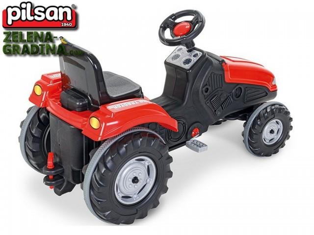 """PILSAN 07321 червен - Трактор """"MEGA"""", Цвят: Червен, Размери: 114x50x64 см, Товароносимост: 60 кг"""
