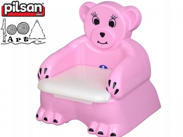 """PILSAN 07505 - Детско гърне/столче """"МЕЧЕ"""", Цвят: Розово, Размери: 46x46x39 см, Тегло: 1.5 кг"""