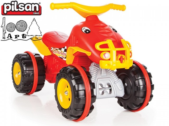 """PILSAN 07809 - Детска кола за бутане """"ATV"""", Цвят: Червен, Размери: 44.5x67x41 см, Тегло: 3 кг"""