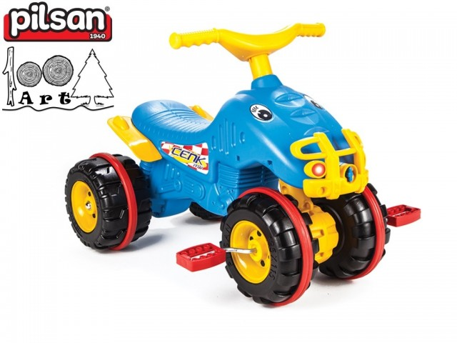 PILSAN 07810 - Детско пластмасово ATV с педали, Цвят: Син, Размери: 48x67x47 см, Тегло: 3.5 кг