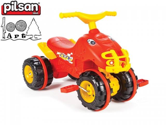 PILSAN 07810 - Детско пластмасово ATV с педали, Цвят: Червен, Размери: 48x67x47 см, Тегло: 3.5 кг