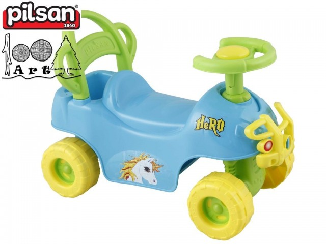 """PILSAN 07812 - Детска кола за бутане/яздене """"HERO"""", Цвят: Син, Размери: 42x59.5x30 см, Тегло: 2.0 кг"""