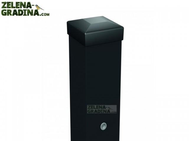 """POLARGOS W6699 - Квадратен ограден стълб за врата с капачка """"VENUS ECO"""", Цвят: черен (RAL 9005)"""