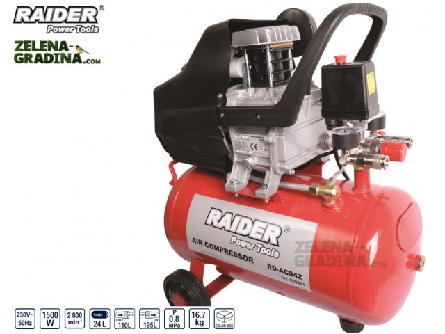 RAIDER 089401 - Компресор RAIDER RD-AC04Z, Обем на резервоара: 24L, Мощност: 1.5 kW, Максимално налягане: 0,8 MPa