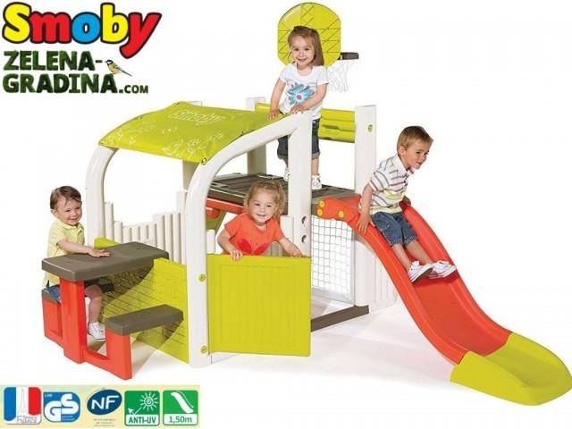 """SMOBY 7600310059 - Детски център за игра """"Playhouse & Slide"""", Размери: 284 x 203 x 176cm"""
