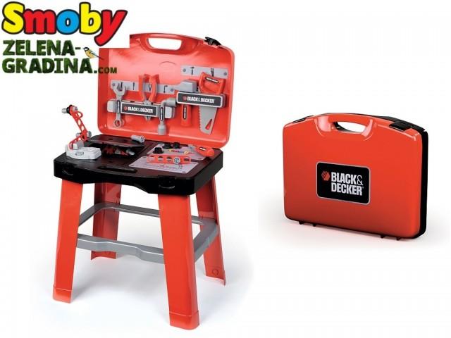 "SMOBY 7600500240 - Детска работилница/тезгах ""BLACK and DECKER"" в куфарче, Размери : 43 х 35 х 76.5 см"