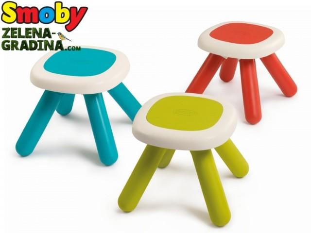 SMOBY 7600880200 - Детско столче с дебели крака без облегалка, Различни цветове, Размери: 27 x 33 x 33 cm, Максимално тегло: до 50 кг