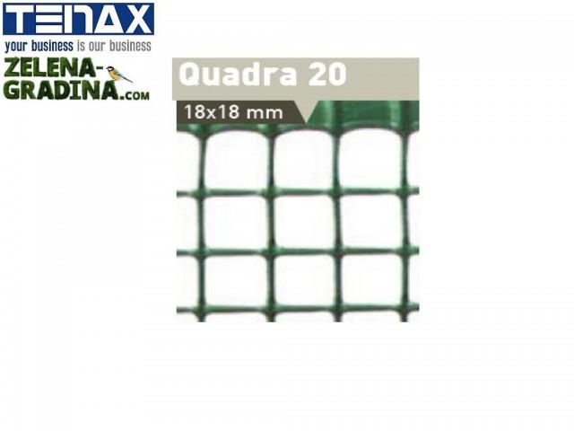 """TENAX 62451307 - Висококачествена универсална пластмасова мрежа """"QUADRA 20"""" на фирма TENAX-Италия; Височина H=1.0m x дължина L=30 m; Цвят: зелен"""